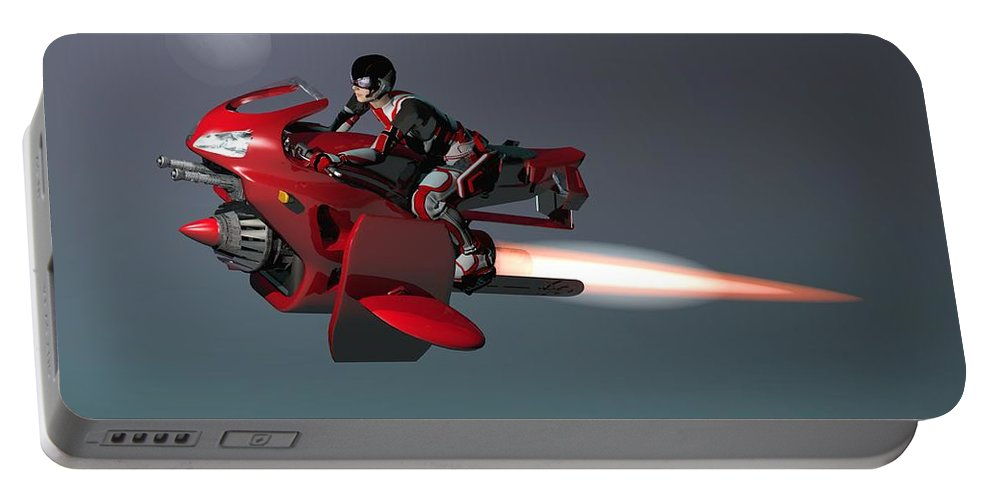 Digital Art Portable Battery Charger featuring the digital art Rocket Scooter by Michael Wimer