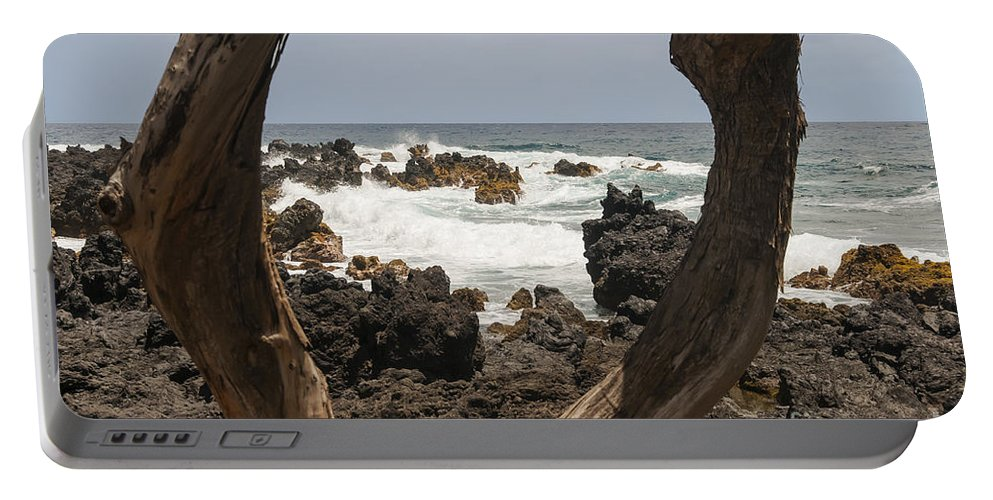 Road To Hana Maui Hawaii Pacific Ocean Oceans Sea Seas Wave Waves Waterscape Waterscapes Rock Rocks Landscape Landscapes Water Portable Battery Charger featuring the photograph Rocks And Waves by Bob Phillips
