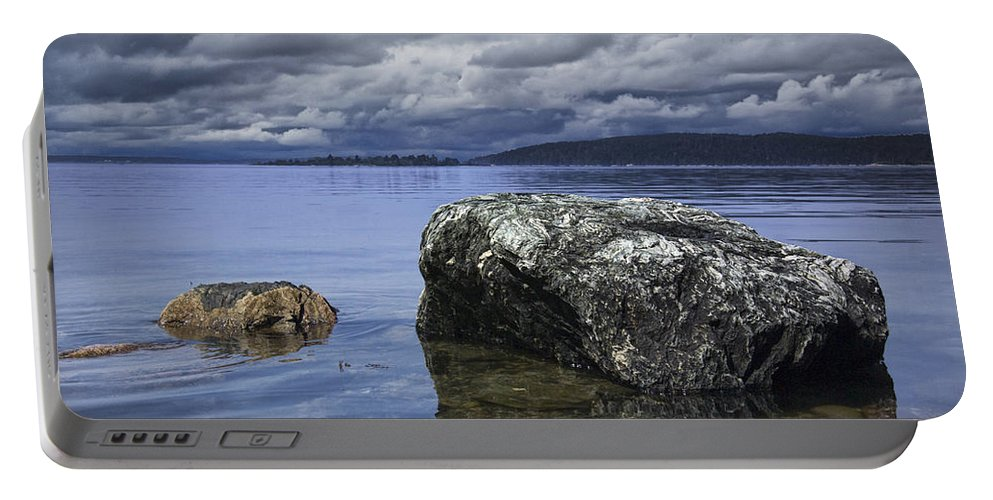 Art Portable Battery Charger featuring the photograph Rocks In The Water On A Lake In Acadia National Park by Randall Nyhof