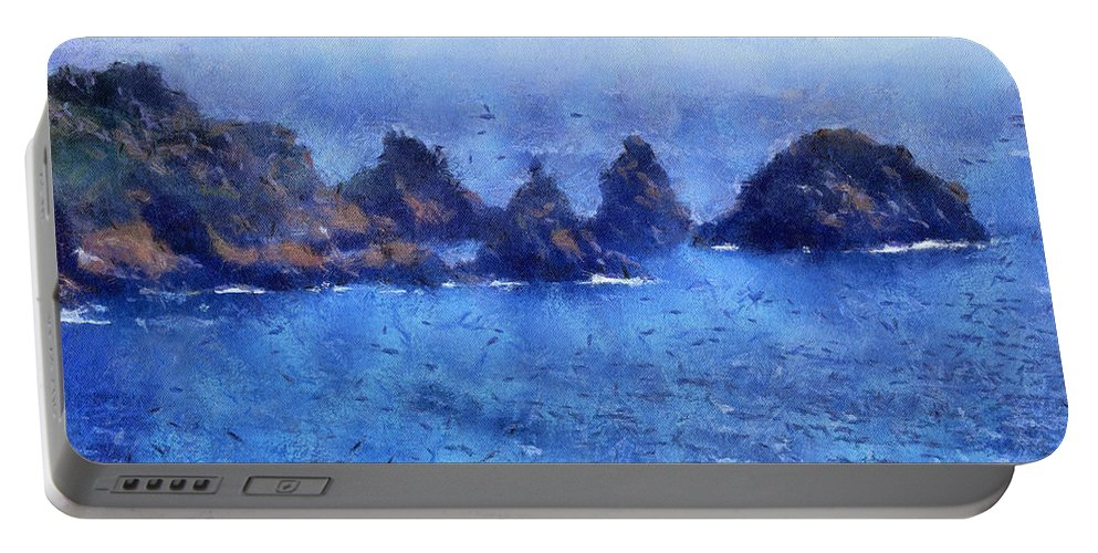 Isle Of Guernsey Portable Battery Charger featuring the digital art Rocks On Isle Of Guernsey by Bellesouth Studio