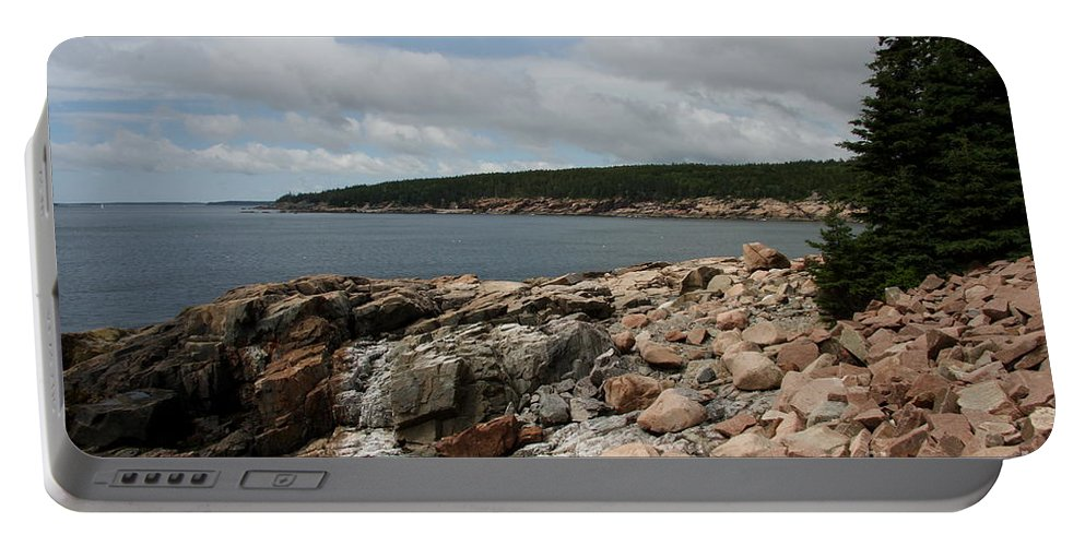 Rocky Coast Portable Battery Charger featuring the photograph Rocky Coastline Acardia Park by Christiane Schulze Art And Photography
