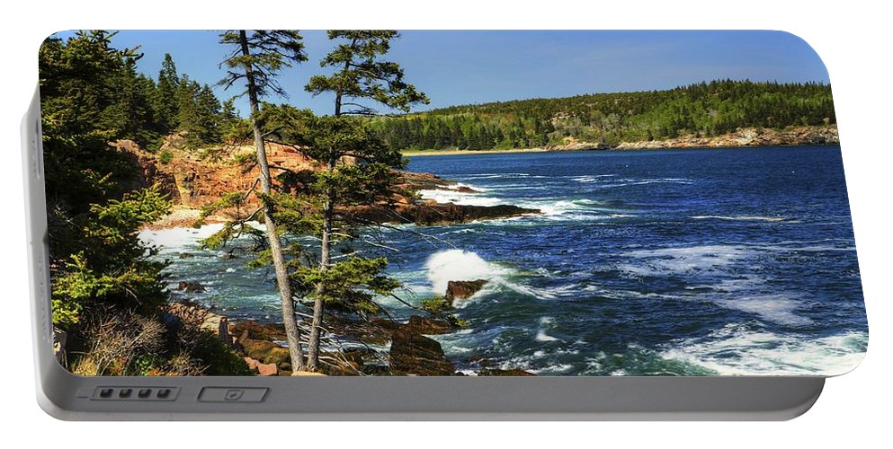 Acadia Portable Battery Charger featuring the photograph Rocky Coastline by Dave Files