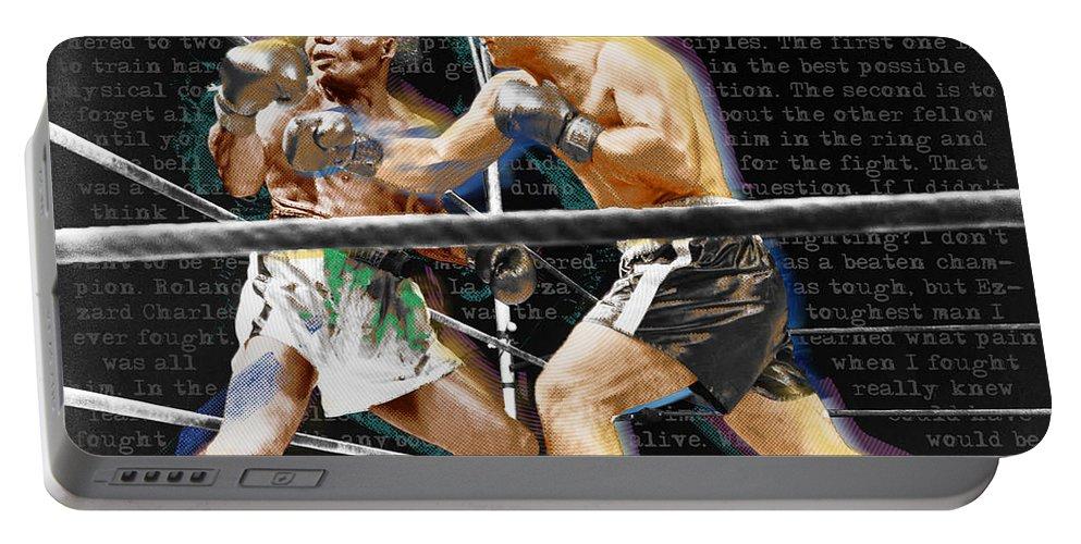 Rocky Marciano Portable Battery Charger featuring the painting Rocky Marciano V Jersey Joe Walcott Quotes by Tony Rubino