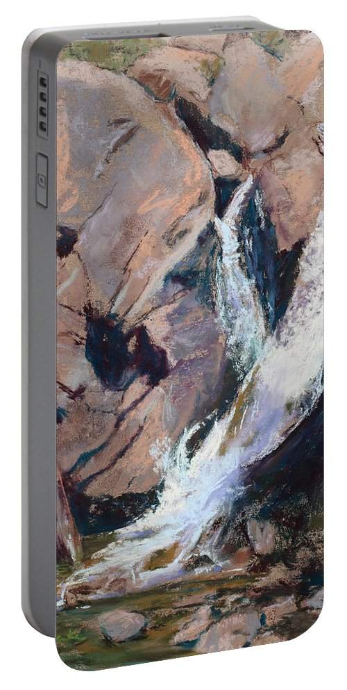 Waterfall Portable Battery Charger featuring the painting Rocky Mountain Cascade by Mary Benke