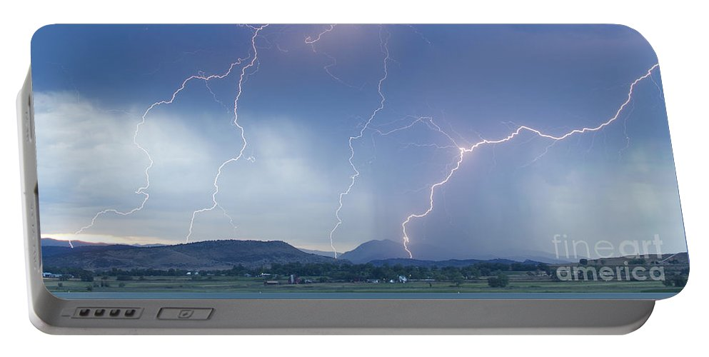 Lightning Portable Battery Charger featuring the photograph Rocky Mountain Front Range Foothills Lightning Strikes by James BO Insogna
