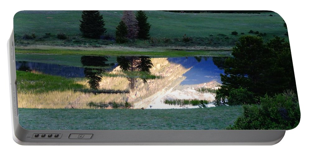 Rocky Mountain Reflection Portable Battery Charger featuring the photograph Rocky Mountain Reflection by Dan Sproul