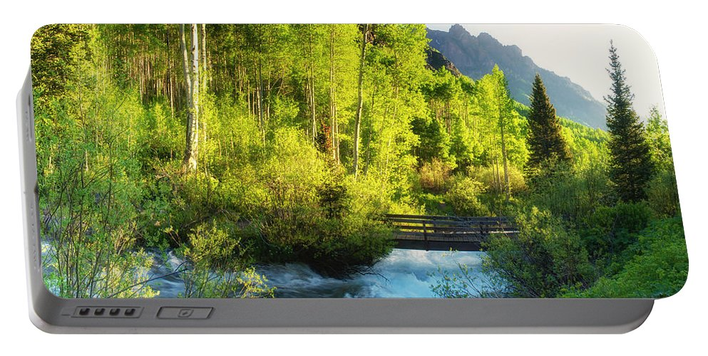 Rocky Mountain River Portable Battery Charger featuring the photograph Rocky Mountain River by OLena Art Brand