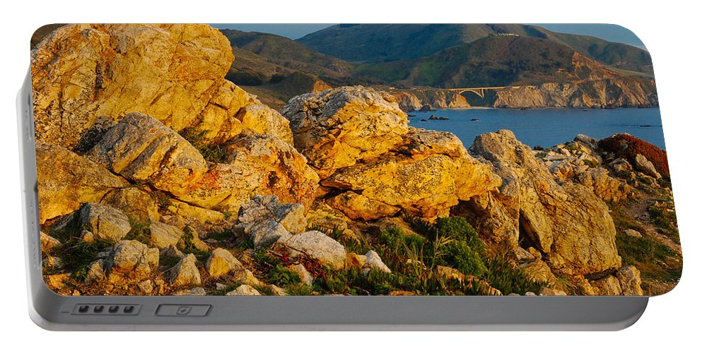 Rocky Point Portable Battery Charger featuring the photograph Rocky Point And Bixby Bridge Big Sur California by Jeff Black