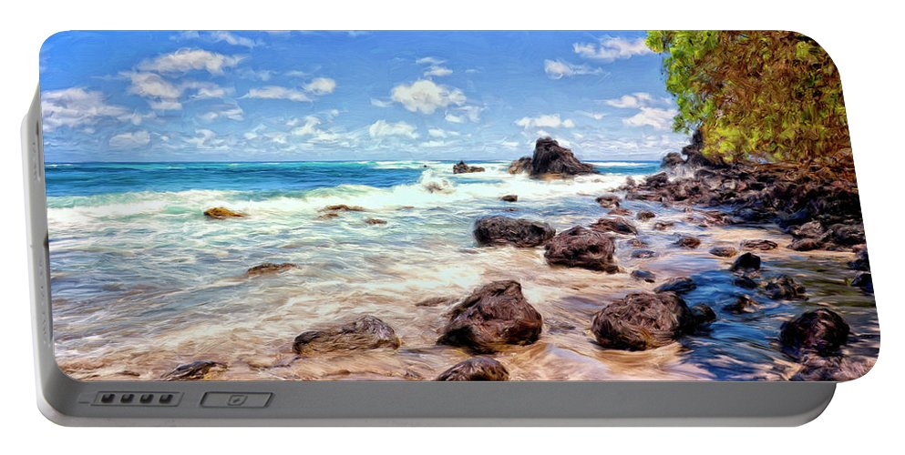 Rocky Shoreline Portable Battery Charger featuring the painting Rocky Shoreline by Dominic Piperata