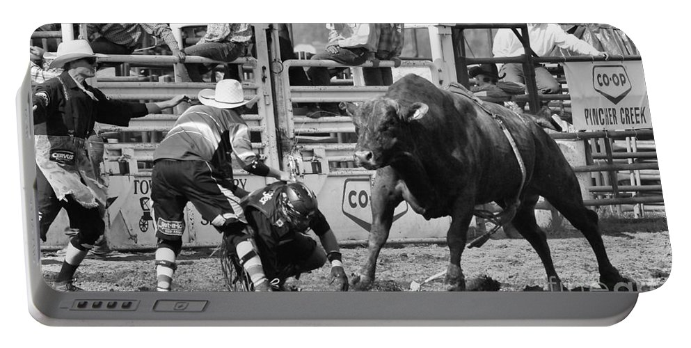 Bull Riding Portable Battery Charger featuring the photograph Rodeo Mexican Standoff by Bob Christopher