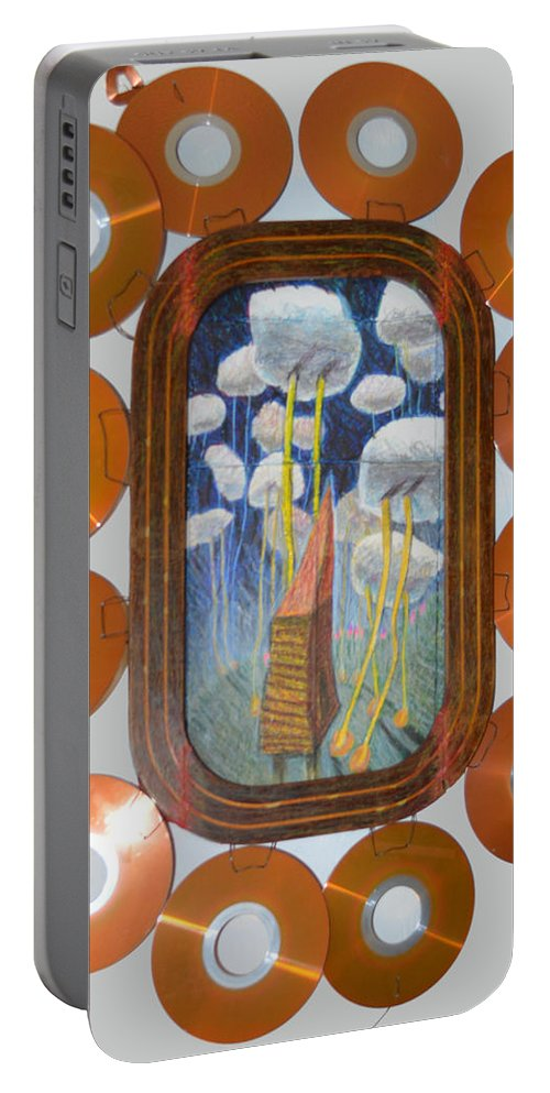 Abstract Outsider Raw Modern House Clouds Wheels Sky Blue Roof Surreal Folk Wheel Cloud Landscape Portable Battery Charger featuring the painting Roll Them Where You Want Them - Framed by Nancy Mauerman