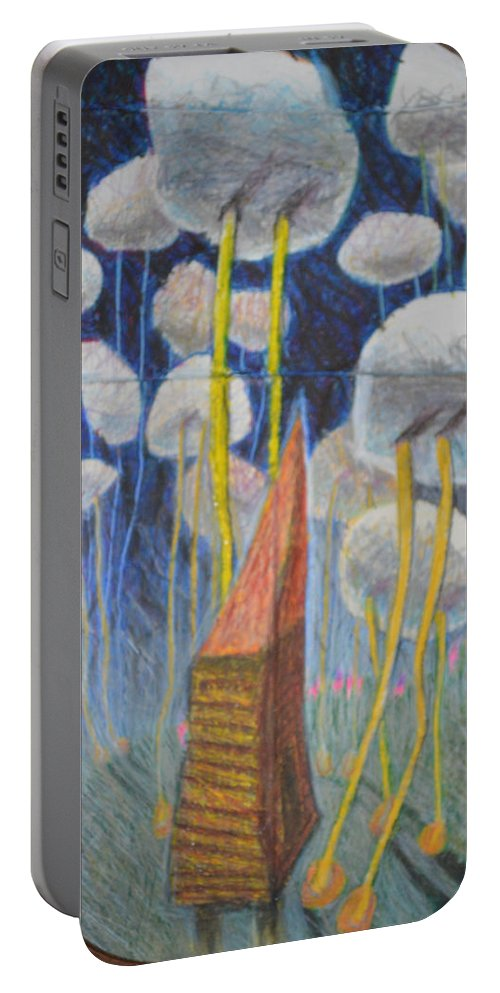 Abstract Outsider Raw Modern House Clouds Wheels Sky Blue Roof Surreal Folk Wheel Cloud Landscape Portable Battery Charger featuring the painting Roll Them Where You Want Them by Nancy Mauerman