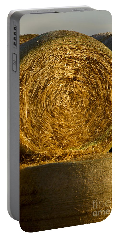 Hay Portable Battery Charger featuring the photograph Rolled Hay  #1074 by J L Woody Wooden