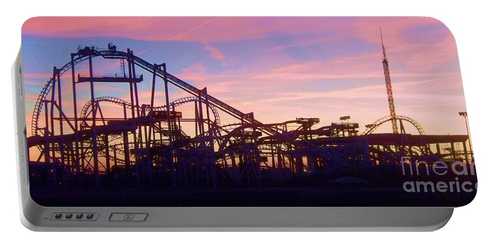 Roller Coaster Portable Battery Charger featuring the photograph Roller Coaster At The Nj Shore by Eric Schiabor