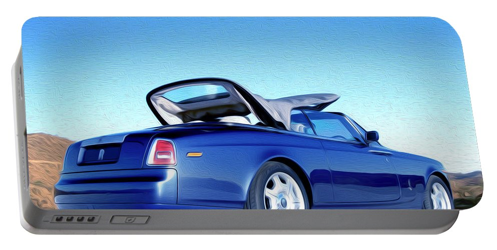 New Portable Battery Charger featuring the painting Rolls Royce 6 by Jeelan Clark