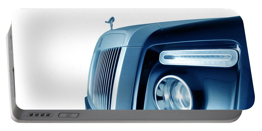 New Portable Battery Charger featuring the painting Rolls Royce 7 by Jeelan Clark