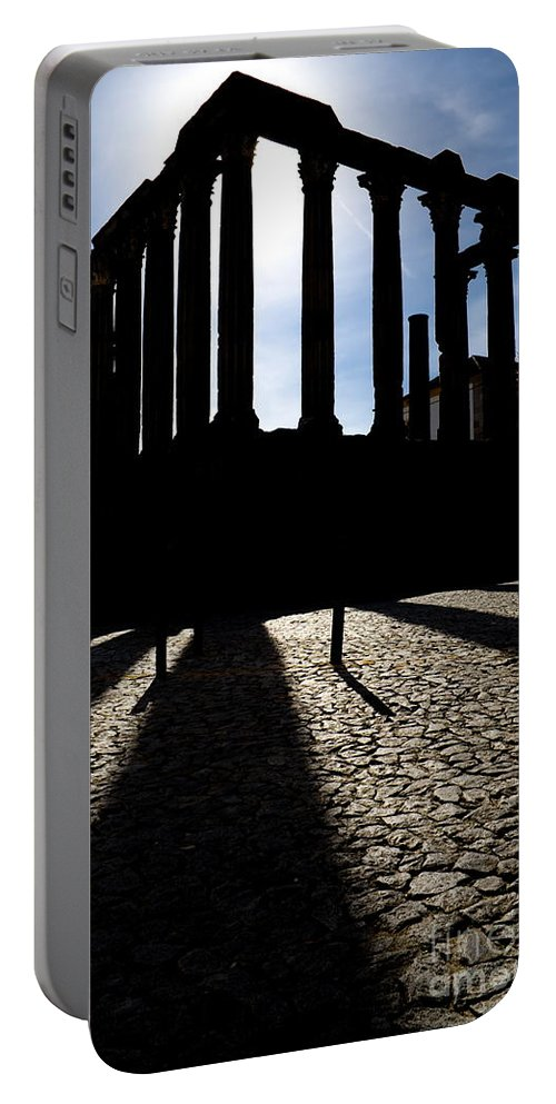 Roman Temple Portable Battery Charger featuring the photograph Roman Temple Silhouette by Jose Elias - Sofia Pereira