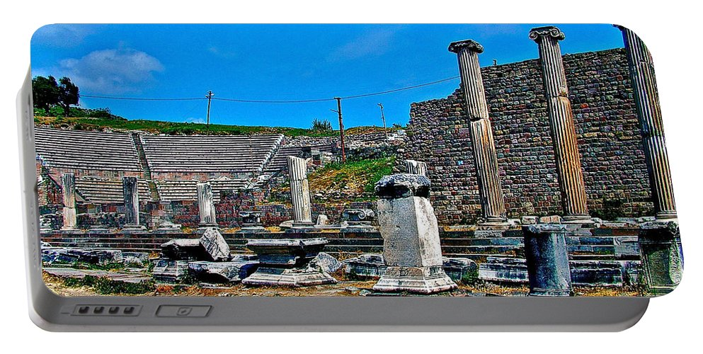 Roman Theatre In Pergamum Portable Battery Charger featuring the photograph Roman Theatre In Pergamum-turkey by Ruth Hager