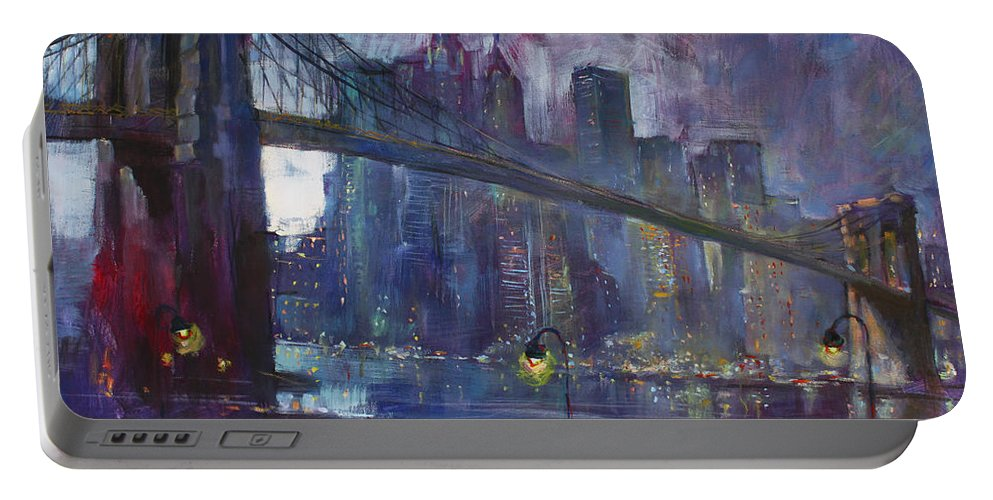 Brooklyn Bridge Portable Battery Charger featuring the painting Romance by East River NYC by Ylli Haruni