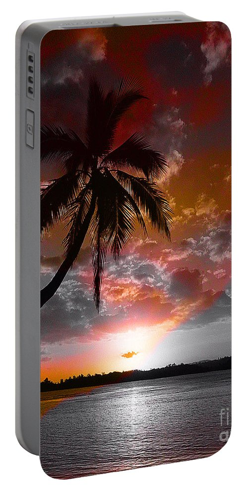 Palm Tree Image Portable Battery Charger featuring the digital art Romance II by Yael VanGruber