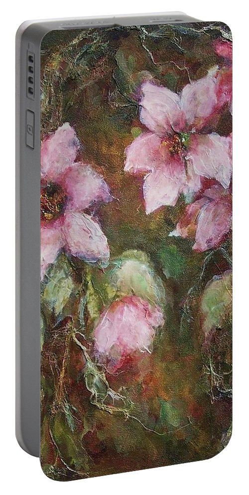 Floral Portable Battery Charger featuring the painting Romance by Mary Wolf