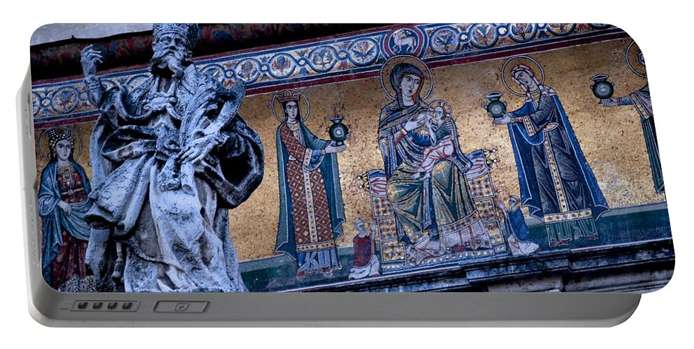Rome Portable Battery Charger featuring the photograph Romanesque Campanile by Eric Tressler