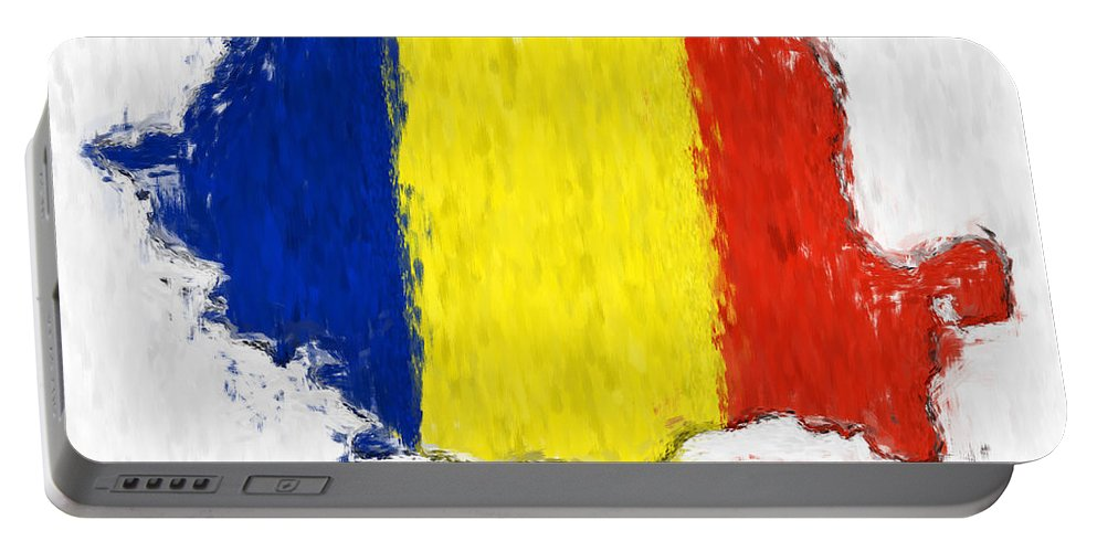Romania Portable Battery Charger featuring the photograph Romania Painted Flag Map by Antony McAulay