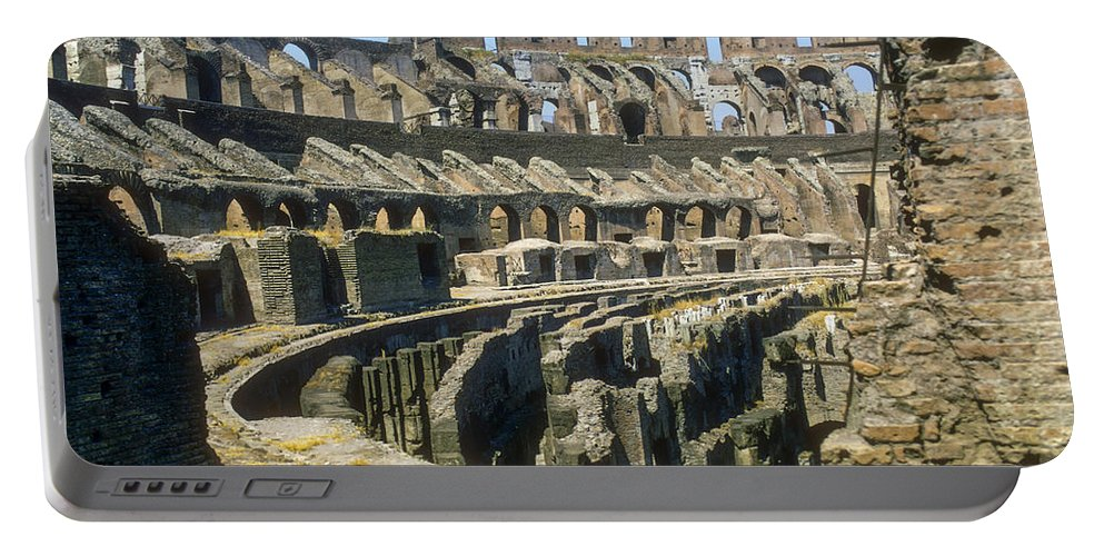 Rome Colosseum Ruin Roman Ruins Structure Structures Architecture Landmark Landmarks Italy Portable Battery Charger featuring the photograph Rome Colosseum by Bob Phillips