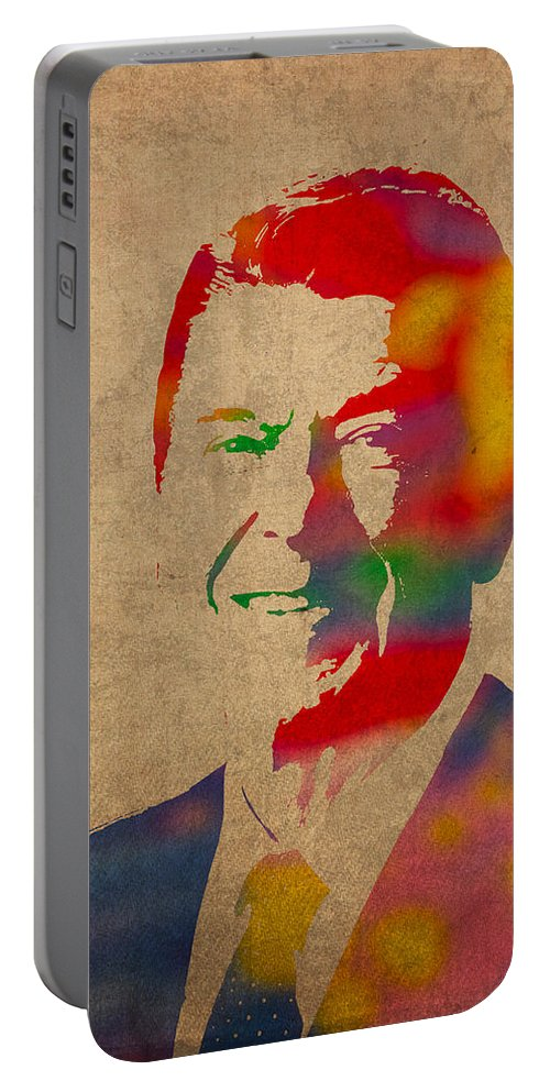 Ronald Reagan President 1980s Usa Watercolor Portrait On Worn Distressed Canvas Portable Battery Charger featuring the mixed media Ronald Reagan Watercolor Portrait On Worn Distressed Canvas by Design Turnpike
