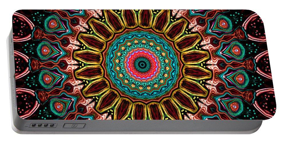 Mandala Portable Battery Charger featuring the digital art Ronnie Mandala by Joy McKenzie