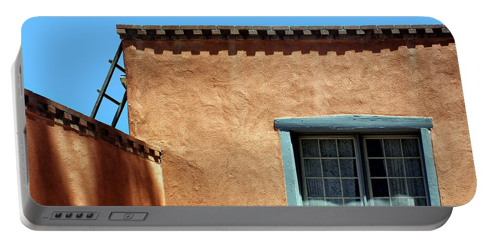 New Mexico Portable Battery Charger featuring the photograph Roof Corner With Ladder And Window by Nikolyn McDonald