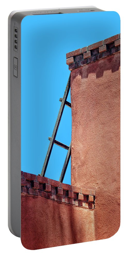 New Mexico Portable Battery Charger featuring the photograph Roof Corner With Ladder by Nikolyn McDonald