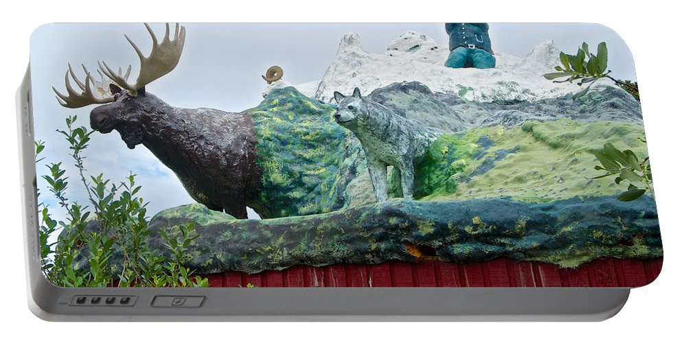 Rooftop Landmark Feature Of Haines Junction Portable Battery Charger featuring the photograph Rooftop Landmark Feature Of Haines Junction-yk by Ruth Hager