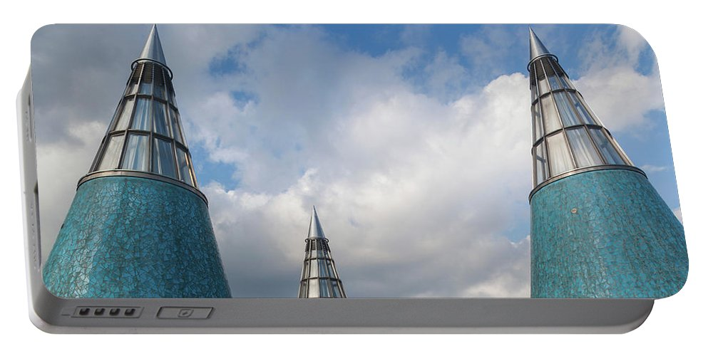 Photography Portable Battery Charger featuring the photograph Rooftop Towers At Museum Of Technology by Panoramic Images
