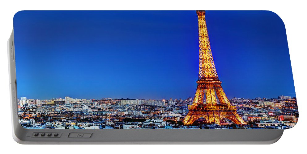 Eiffel Portable Battery Charger featuring the photograph Rooftop View On The Eiffel Tower by Michal Bednarek