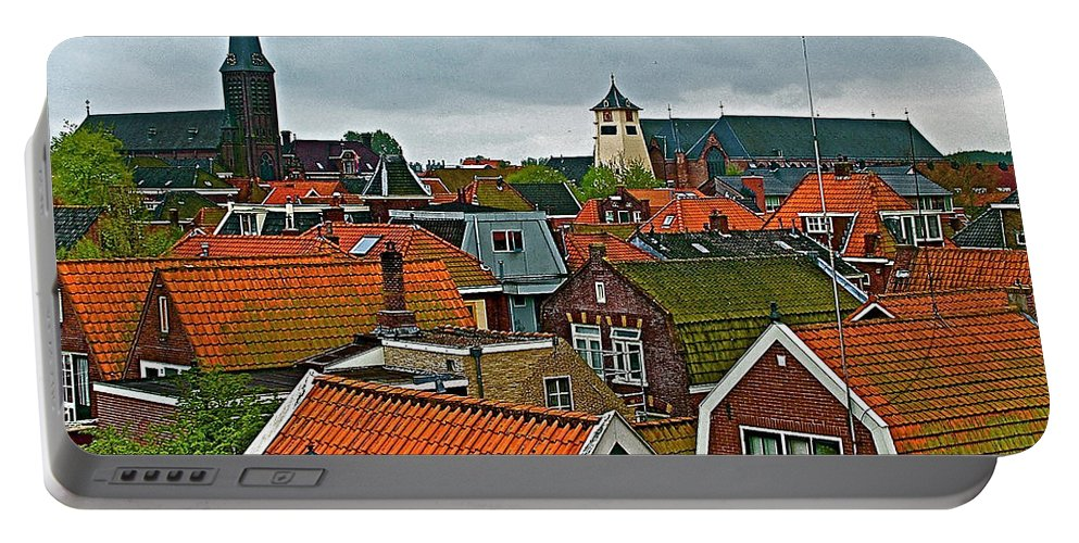 Rooftops From Our Host's Apartment In Enkhuizen Portable Battery Charger featuring the photograph Rooftops From Our Host's Apartment In Enkhuizen-netherlands by Ruth Hager