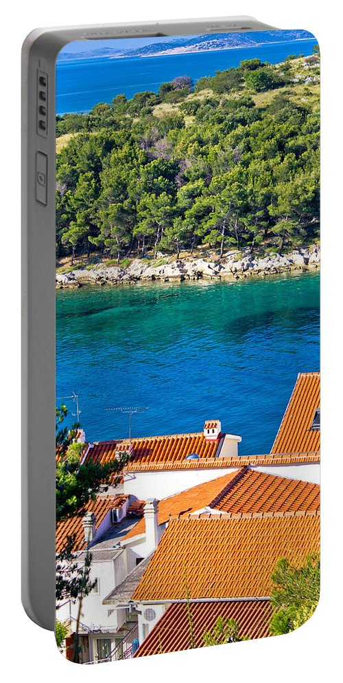 Croatia Portable Battery Charger featuring the photograph Rooftops Sea And Stone Islands by Brch Photography