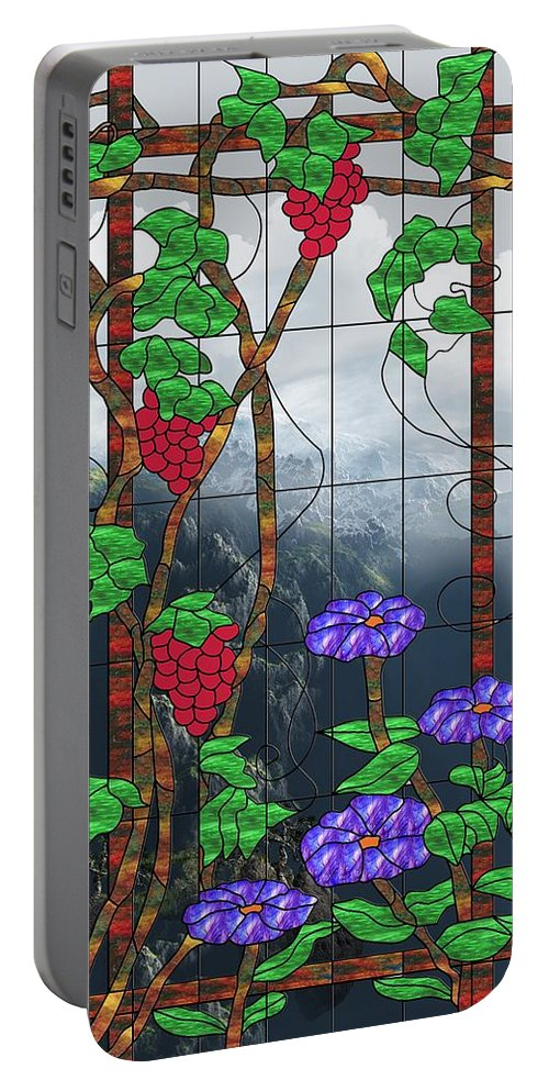 Room With A View Portable Battery Charger featuring the mixed media Room With A View by Georgiana Romanovna