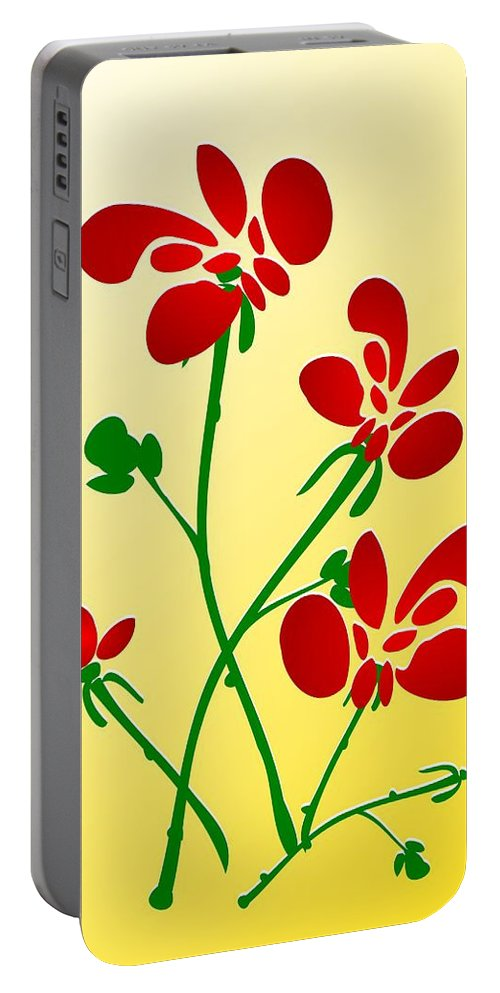 Red Portable Battery Charger featuring the digital art Rooster Flowers by Anastasiya Malakhova