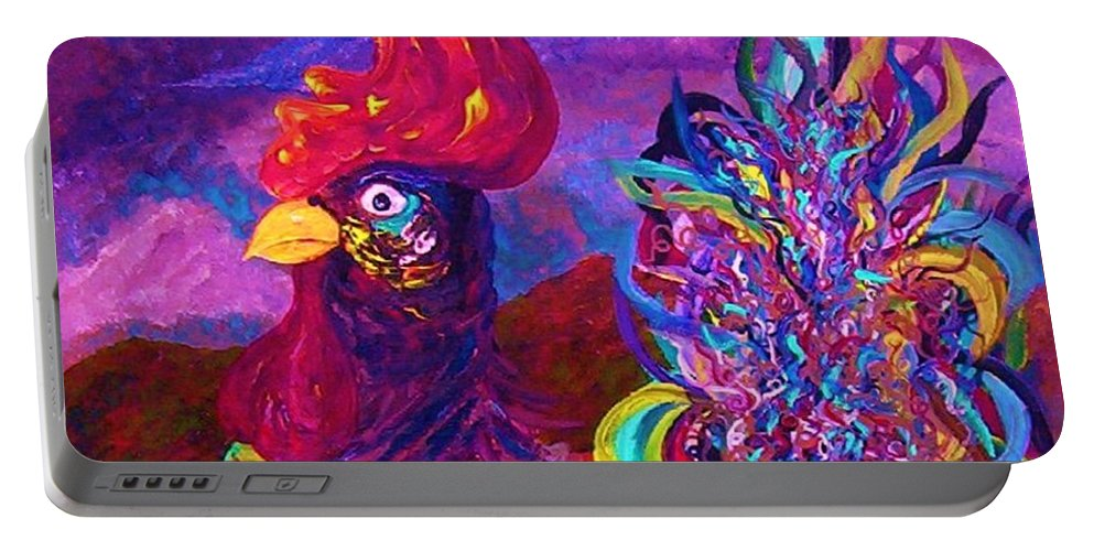 Rooster Portable Battery Charger featuring the painting Rooster On The Horizon by Eloise Schneider Mote