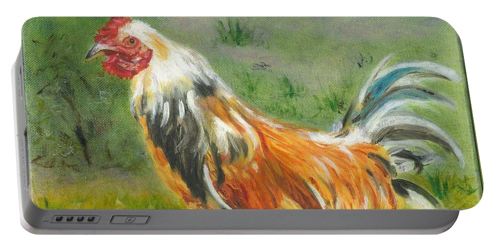 Rooster Portable Battery Charger featuring the painting Rooster Rules by Paula Emery