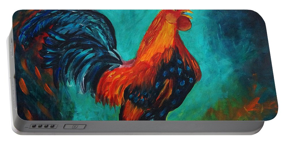 Acrylic Portable Battery Charger featuring the painting Rooster Tails by Frankie Picasso