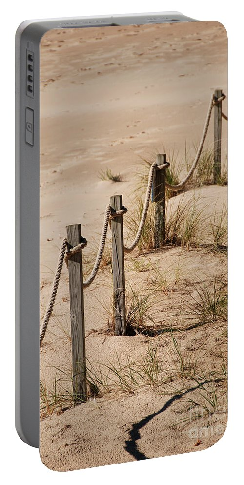 Photography Portable Battery Charger featuring the photograph Rope And Wooden Fence by Jackie Farnsworth