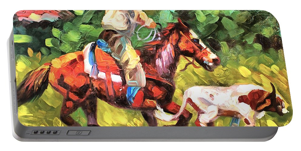 Roping A Runaway Portable Battery Charger featuring the painting Roping A Runaway by Studio Artist