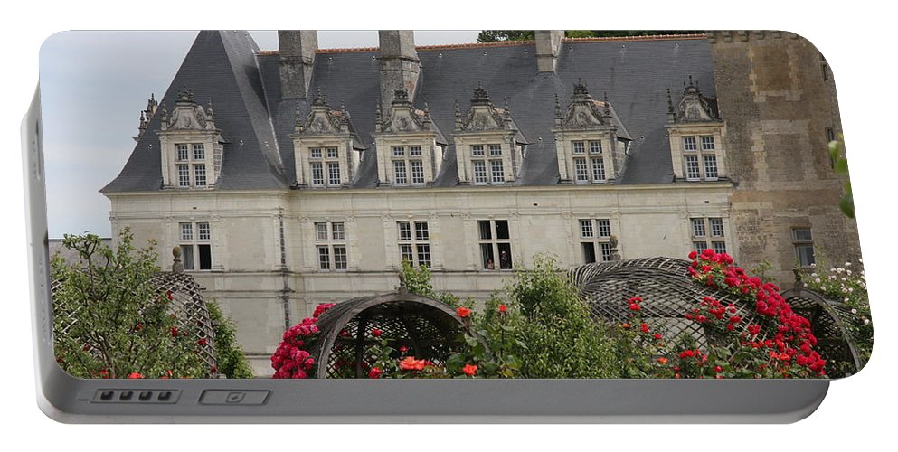 Roses Portable Battery Charger featuring the photograph Rose And Cabbage Garden Chateau Villandry by Christiane Schulze Art And Photography