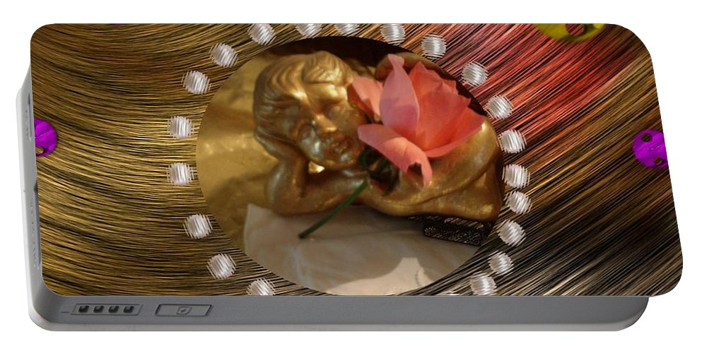 Angel Portable Battery Charger featuring the mixed media Rose Angel by Pepita Selles