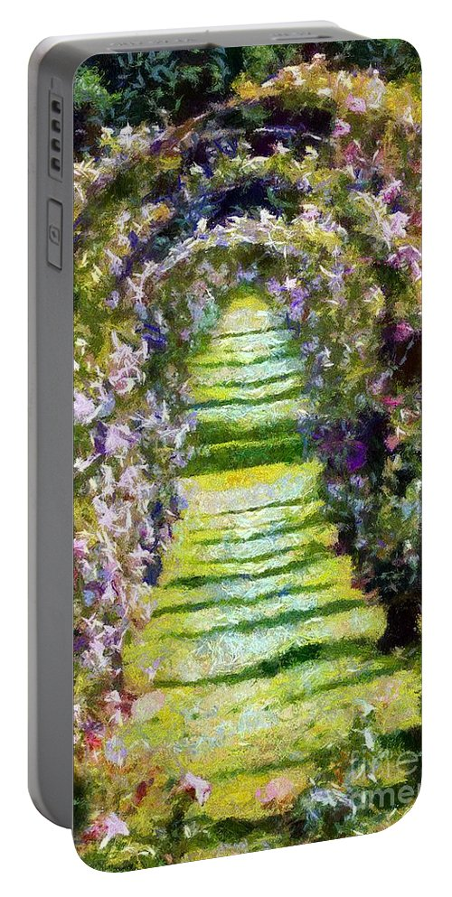 Arches Portable Battery Charger featuring the painting Rose Arch In Summer Sunshine by RC DeWinter