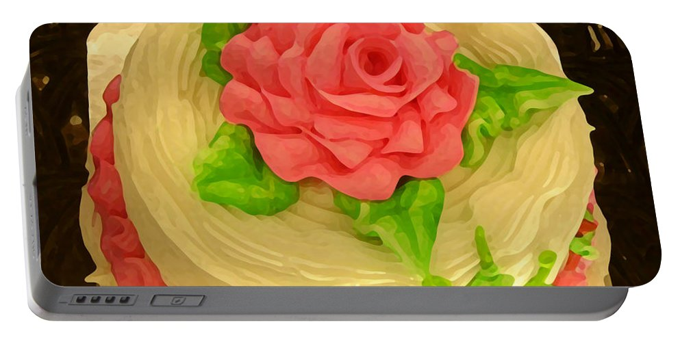 Food Portable Battery Charger featuring the painting Rose Cakes by Amy Vangsgard