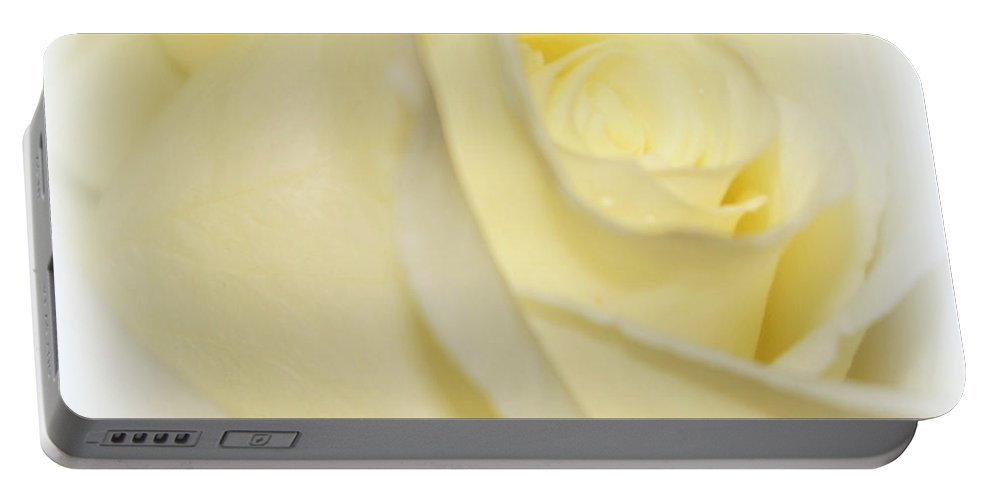 Digital Photograph Portable Battery Charger featuring the photograph Rose Fades To White by Laurie Pike