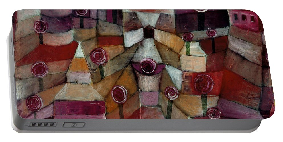 Paul Klee Portable Battery Charger featuring the painting Rose Garden by Paul Klee